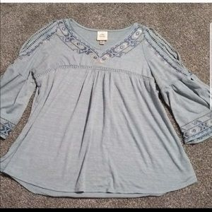 Light blue Peasant Top
